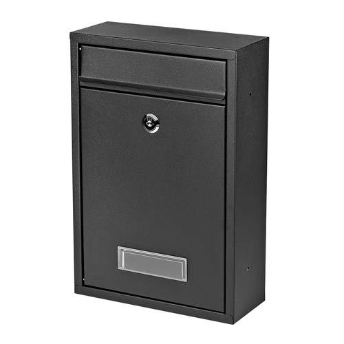 Melko Wandbriefkasten mit Namensschild Schwarz Design Briefkasten Wandmontage Postkasten, wetterfeste Rostschutzlackierung