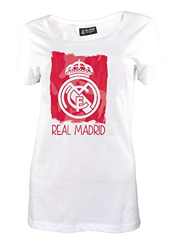 Camiseta Oficial Real Madrid Mujer Lady Blanca 2018 2019 en blíster Blancos, Bianco, L