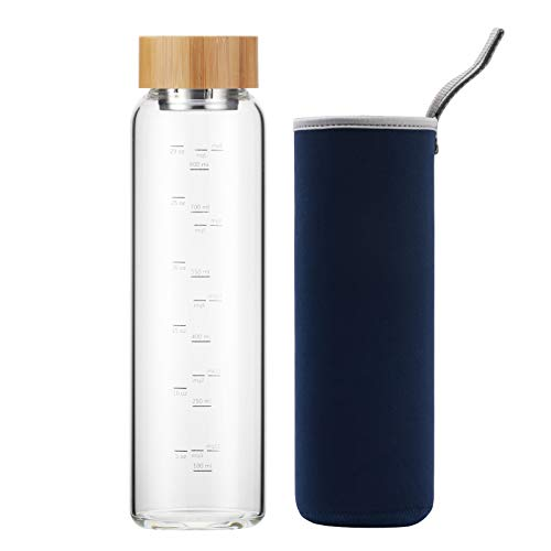 Botella de Agua Cristal 1 Litro Reutilizable con Funda Neopreno y Tapa de Bambú sin Bpa (Azul Marino)