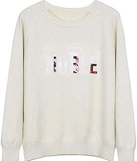 SDJYH Suéter de Mujer con Cuello Redondo Pullover Suéteres de Punto Suave Tops para Mujer