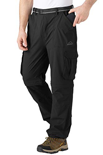 TBMPOY Men's Hiking Fishing Convertible Pants with Pockets,Black,XX-Large