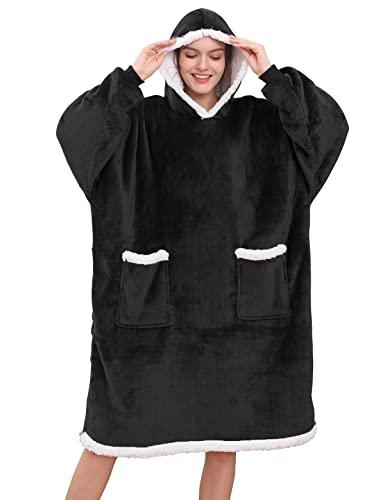 Tuopuda Bluza z kapturem koc bluza z kieszenią kobiety oversize sherpa bluza z kapturem unisex super miękki ciepły koc z kapturem polar ciepły przytulny wygodny do noszenia ogromna bluza dla mężczyzn