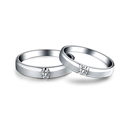 KnSam Anillo Oro de 18K, Redondo Anillo Solitario con Diamante Blanco 0.13ct, Mujer Talla 10 y Hombre Talla 20 (Precio por 2 Anillos)