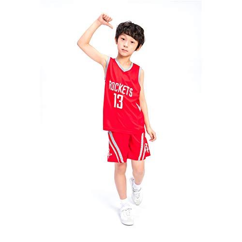 KSWX Camiseta de Baloncesto Rockets # 13 James Harden Trajes De Entrenamiento De Baloncesto para Niños Y Niñas,White,L