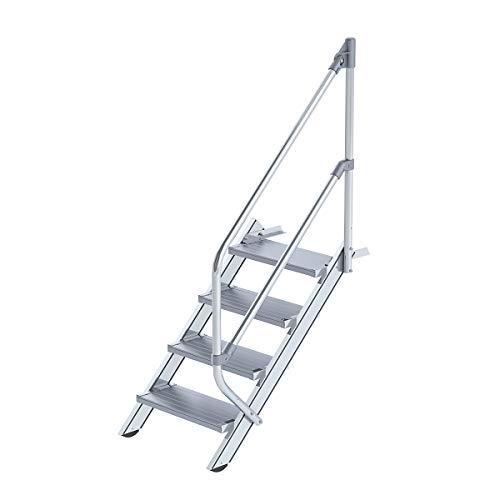 Günzburger Steigtechnik Alu-Treppe Schritt von 45°, Breite/Tiefe 600/240mm Etappen der Stufen: 17Die vertikale Höhe 3,54m