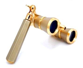 Finissimo Optics 3x25 Titanium Finish Opera Glasses with Extendable Handle and Red Reading LED Flashlight / Theater Binoculars / with Gold Trim