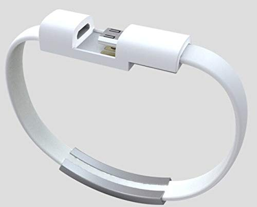 SDFASV Teléfono móvil Cable de Datos Pulseras y brazaletes Trenzados para Hombres Mujeres Punk Cable de Carga USB Pulsera Lether Joyería Tipo-c Blanco