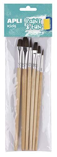 APLI Kids - Pinceles de madera surtidos 6 uds.