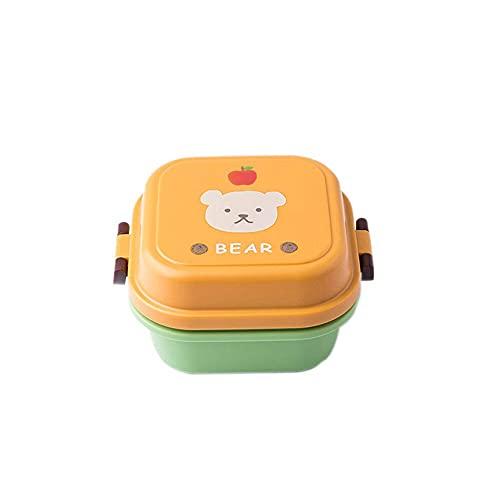 Caja de comida para niños, mini linda caricatura, caja de almacenamiento de alimentos, para escuela, portátil, de plástico, para estudiantes, regalo (color: gato amarillo)