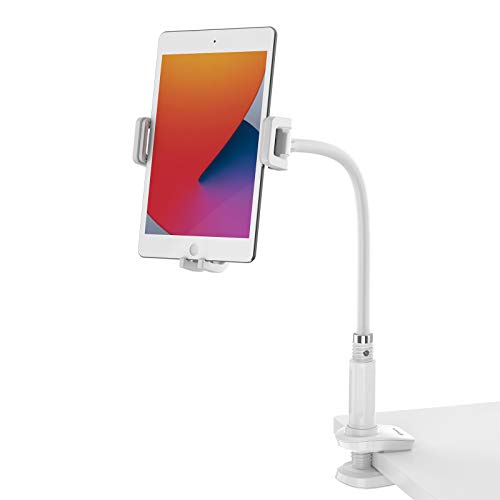 Smatree Gooseneck Tablet and Cellphone Stand, Flexible Tablet Mount Holder, Compatible for 4.7-12.9 inch iPhone, iPad Mini, iPad Air, iPad Pro, Nintendo Switch and More, White