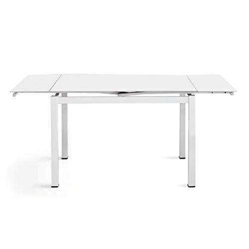 Cribel Modello Queen Tavolo in Metallo Laccato E Piano in Vetro Temperato, Bianco/Bianco,...