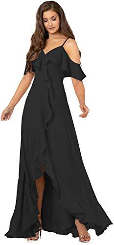 AKHOKA Women's Floor Length V-Neck Bridesmaid Dresses Black Long Chiffon Prom Dress...