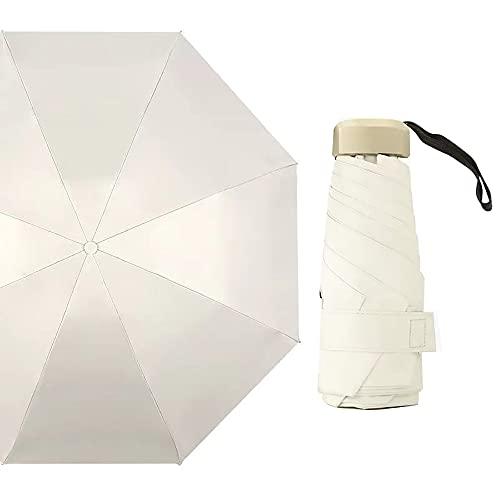 Mini paraguas de bolsillo,Paraguas Plegable Ultraligero Mini Paraguas Plegable de Goma Sombrillas Soleado Viajes UV Protección contra La Lluvia Mini Paraguas