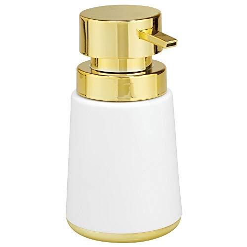 mDesign Dosificador de jabón recargable – Útil dispensador de jabón líquido de aprox. 150 ml de capacidad – Elegante dispensador de jabón de manos de plástico para baño y cocina – blanco/dorado