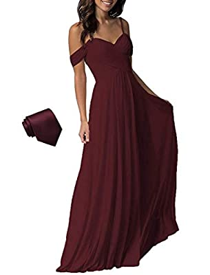 YUESUO Dresspic Burgundy Wedding Bridesmaid Dress for Women Long Cold Shoulder Pleated Chiffon Formal Dress for Women