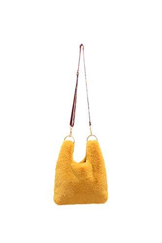 Ulisty Damen Herbst Winter Kunstpelz Schultertasche Plüsch Handtasche Flauschige Umhängetasche Gelb