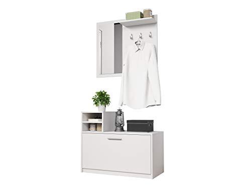 Mirjan24 Garderoben-Set Luigi, Flurgarderobe, Wandgarderobe, Farbauswahl, Schuhschrank, Spiegel, 3 Kleiderhaken (Weiß)