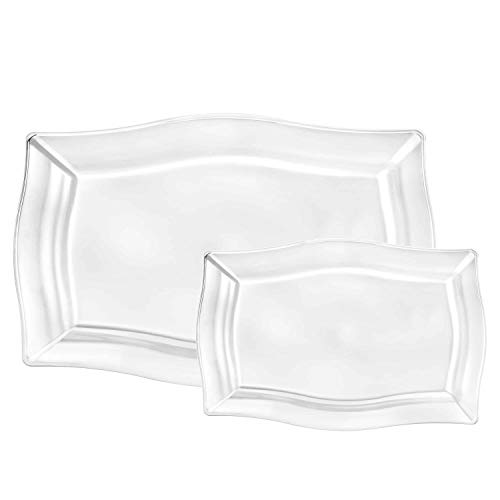 Plastic Tray Combo   Clear Fluted Square   Pack of 6