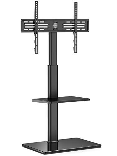 FITUEYES Soporte TV de 32 a 60 Pulgadas con 2 Estantes Soporte de Suelo para Televisión Plana Curva Giratorio 70 Grados Altura Ajustable MAX VESA 600 x 400 mm Gestión de Cables