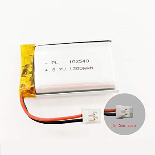 MSDS Verified Part Number: 102540, Rechargeable 3.7V 1200mAh Li Lipo Lithium Polymer Ion Battery Pack with 2 Pin 2.0mm JST Connector