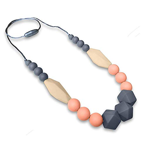 REIGNDROP Baby Teething Necklace for Mom, Silicone Teether Necklace for Teething Pain Relief in Babies and Toddlers, Light Weight, Stylish Chewable Necklace for Boys and Girls (Grey/Peach/Ivory)