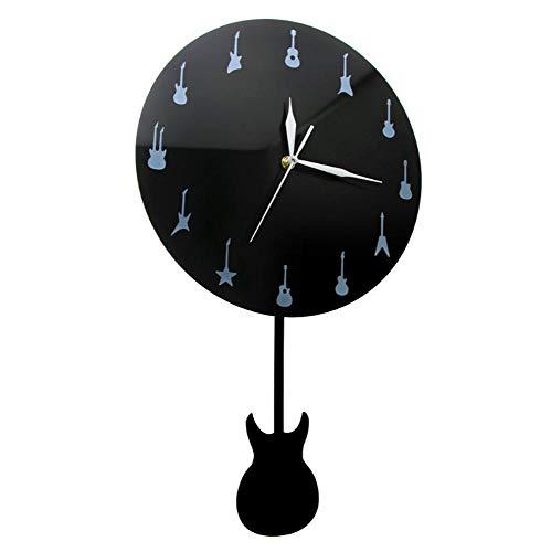 JJYM Wandklok, moderne gitaar, wandklok met trillingsgitaar, slinger, muziek, studio, decoratief klok, wandkunst, muziekliefhebbers, gitarist, cadeau