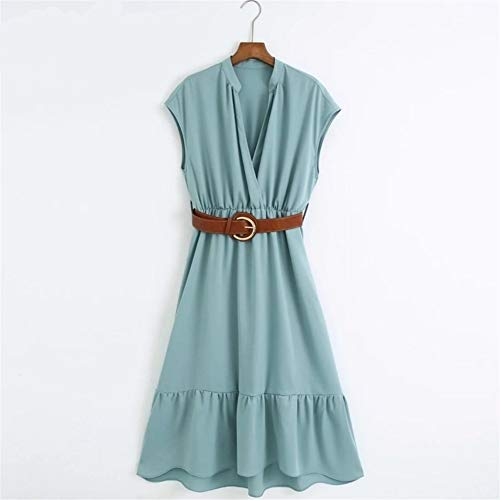 Casual jurken voor vrouwen Dames Verfijnde V-hals Effen Kleur Perfunctory Slanke Bedrijfskleding Kantoor Dames Gesp Sahses Hem Plooien Midi Jurken (Color : As pic DS4108CBRL, Size : XS)