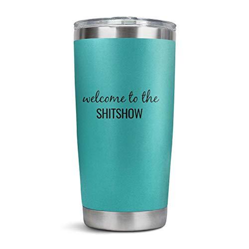 HULOSHIKDL - Vaso de plástico de acero inoxidable con tapa, para viajes, conducción, hogar, oficina, bebidas frías en verano, bienvenido a The Shitshow