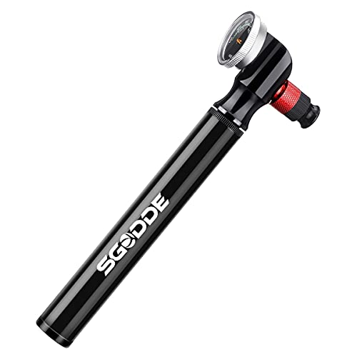 SGODDE Mini Pompa per Bici con Manometro, Pompa Pneumatica per Bici da 300 PSI,Pompa per Telaio per Bici ad Alta Pressione con Valvola 2 in 1 con Presta Schrader, Ideale per Bici/Moto/Pallacanestro
