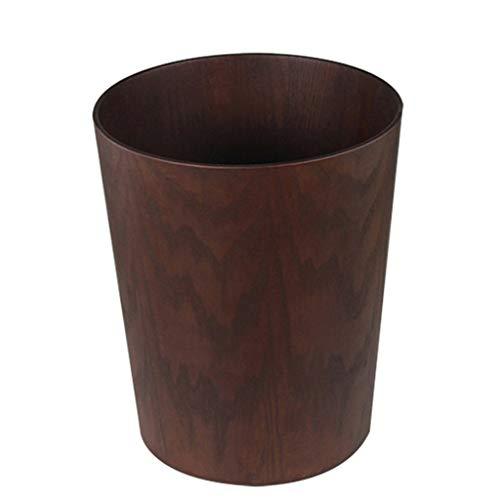 WYWY Papelera Bote de Basura de Estilo nórdico, de Madera, 3.2/2.1gallon, marrón Claro, marrón, marrón Oscuro, Bote de Basura con Tapa para Cubo de Basura (Color : A, tamaño : 8L)