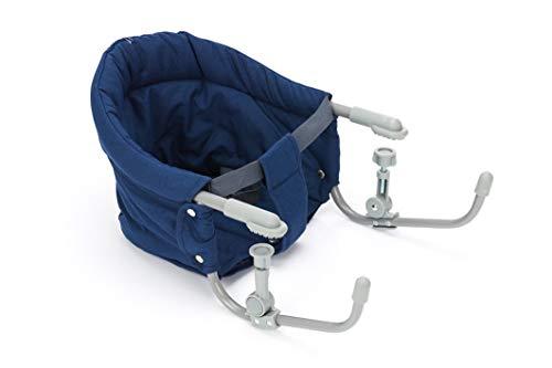 Fillikid Tischsitz Exclusiv   Faltbarer Babysitz für zuhause und unterwegs   Stuhlsitz mit klappbarer Schraubfixierung   Belastbar bis 15 kg, Design:blau/melange