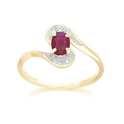 Yellow Gold Ruby Ring 9k Real Oval 6x4 mm And 6 Round Diamond Statement Ring Size 6, 7 And 7.5 Contemporary Jewelry Design For Women July Birthstone Engagement Anniversary Band