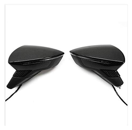 Little Oriental Cap de espejo de fibra de carbono real Ajuste para SEAT LEON 5F MK3 2013-2019 IBIZA MK5 ARONA 2017-2018 ACCESORIOS DE LA CUBIERTA DE LADO DE COCHE AÑADIR ( Color : Glossy Carbon )