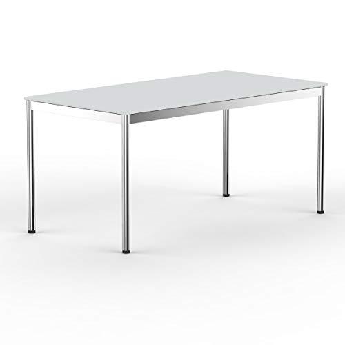 VERSEE system8x Design Schreibtisch - 180 x 80 cm - Lichtgrau - Konferenztisch Metall-Gestell in Stahl/Chrom hochwertige Verarbeitung Dekor Kratzfest...