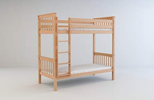 Mobi Furniture stapelbed 90x200 + lattenbodem massief beuken hoogslaper kinderkamer bed natuur