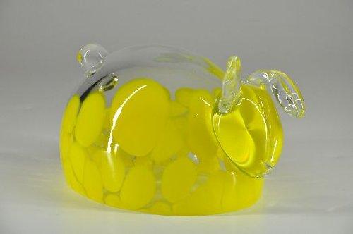 Glasfeld, Transparenter, Glas, Osterhase, mit gelbe flecken, Murano, Design