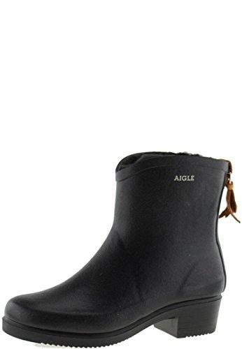 Aigle Women's Miss Juliette Bottillon Fur Wellington Boots, Black (Black), 5 UK