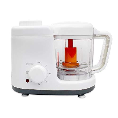 Todeco - Baby-Küchenmaschine, Maschine für Babynahrung - Funktion: 2 in 1 Dampfgarer und Mixer - Material: BPA-frei - Weiß/Grau