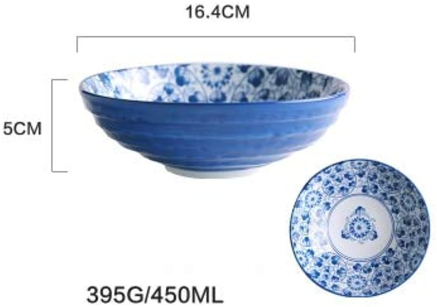 bluee and White Ceramic Dinner Soup Noodle Big deep Bowl Wholesale   6.5inch bowlB