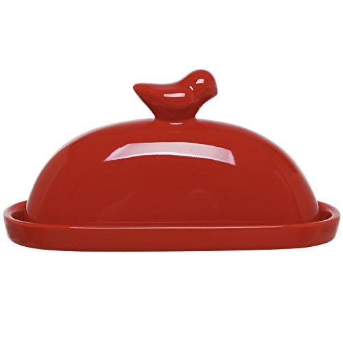 MyGift Keramik-Butterdose mit Deckel, Vogel-Design rot
