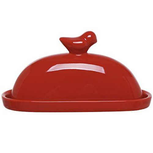 red glass butter dish - 7