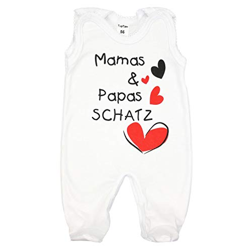 TupTam Unisex Baby Strampler mit Spruch I Love Mum and Dad, Farbe: Weiß - Mamas Papas Schatz, Größe: 62