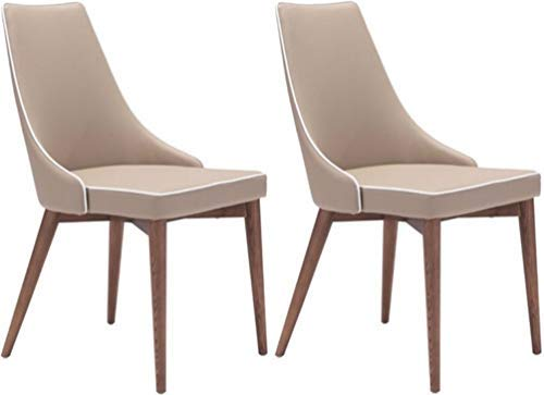 Zuo Modern 100277 Moor Dining Chairs (Set of 2), Slim Wing Back Style, Plush Seat, Beige with With Trim
