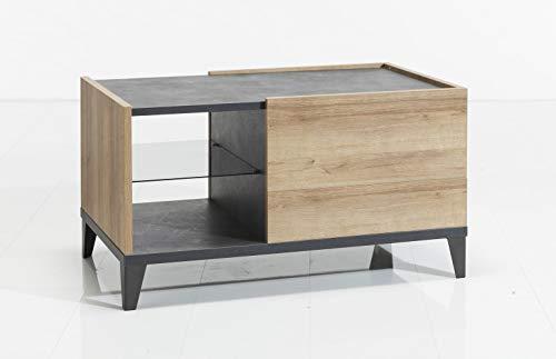 Meubletmoi salontafel, rechthoekig, met laden en opbergvakken van hout, grijs en beige - moderne decoratie - collectie Valentina