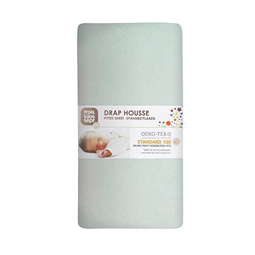 TROIS KILOS SEPT - Drap Housse Bébé - 60x120 cm - 100% Coton - Label OEKO-TEX - Jersey Extensible - Jade