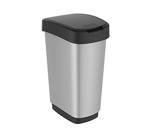 Rotho Twist Mülleimer 50l mit Deckel, Kunststoff (PP) BPA-frei, schwarz/silber, 50l (40,1 x 29,8 x 60,2 cm)