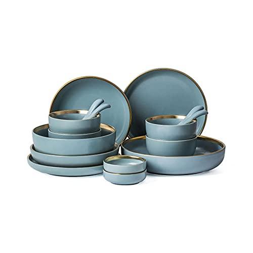 CombinacióN de Vajilla de CeráMica Gris-Azul, Lujoso Juego de Vajilla de Porcelana Mate Phnom Penh, Cuenco de Arroz, Vajilla, CombinacióN de Cuenco Y Plato de CeráMica Adecuado