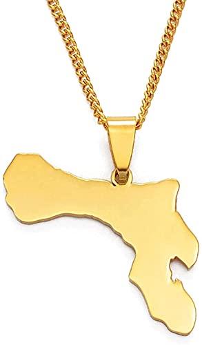NC198 Collar Bonaire Map Collares Pendientes Joyas de Acero Inoxidable y Color Dorado