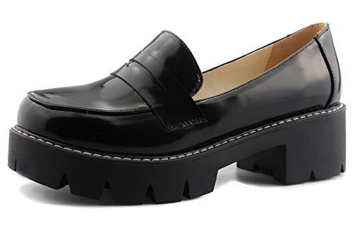 Sungtin Women's Slip-on Platform Loafers Chunky Mid Heel School Uniform Goth Shoes Oxford Pumps Black M 10.5