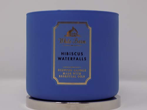 Bath and Body Works White Barn Hibiscus Waterfalls 3 Wick Candle 14.5 Ounce 25 To 45 Hour Burn Time
